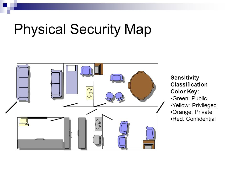 Physical Security Map Sensitivity Classification Color Key: