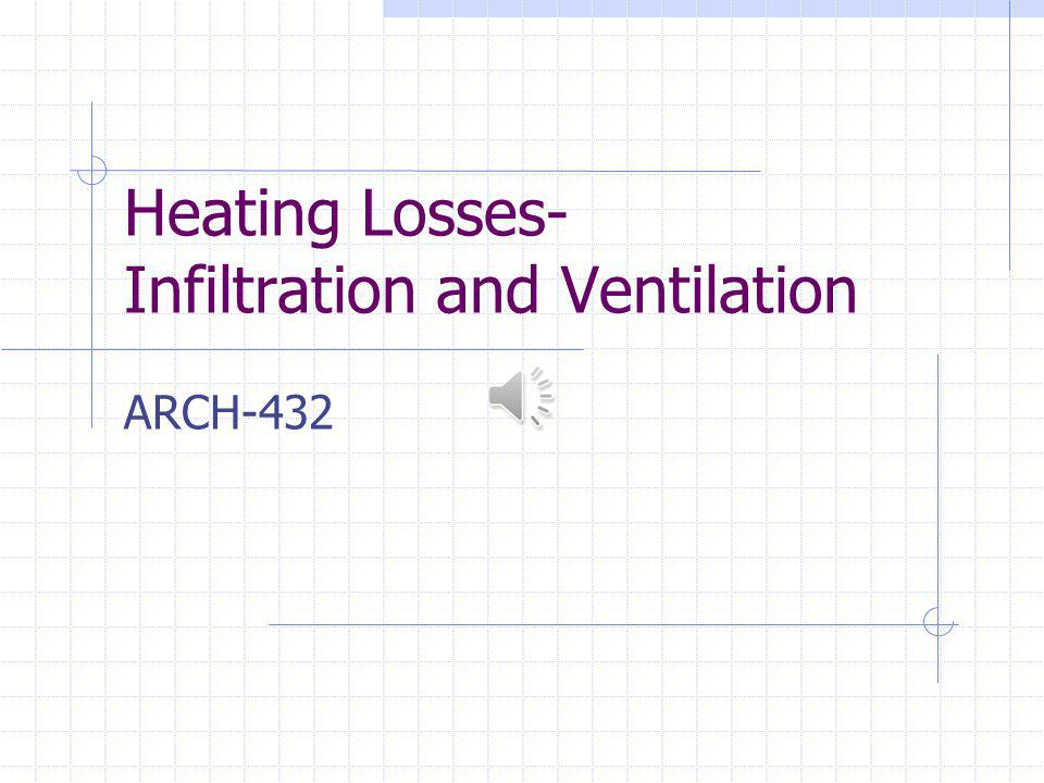 Heating Losses- Infiltration and Ventilation