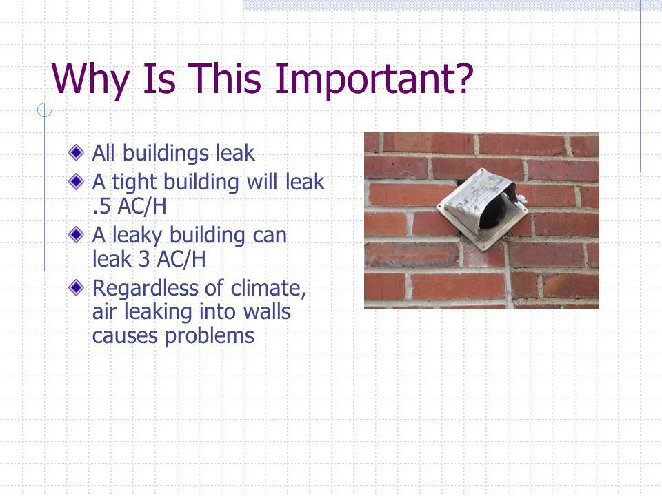 Why Is This Important All buildings leak