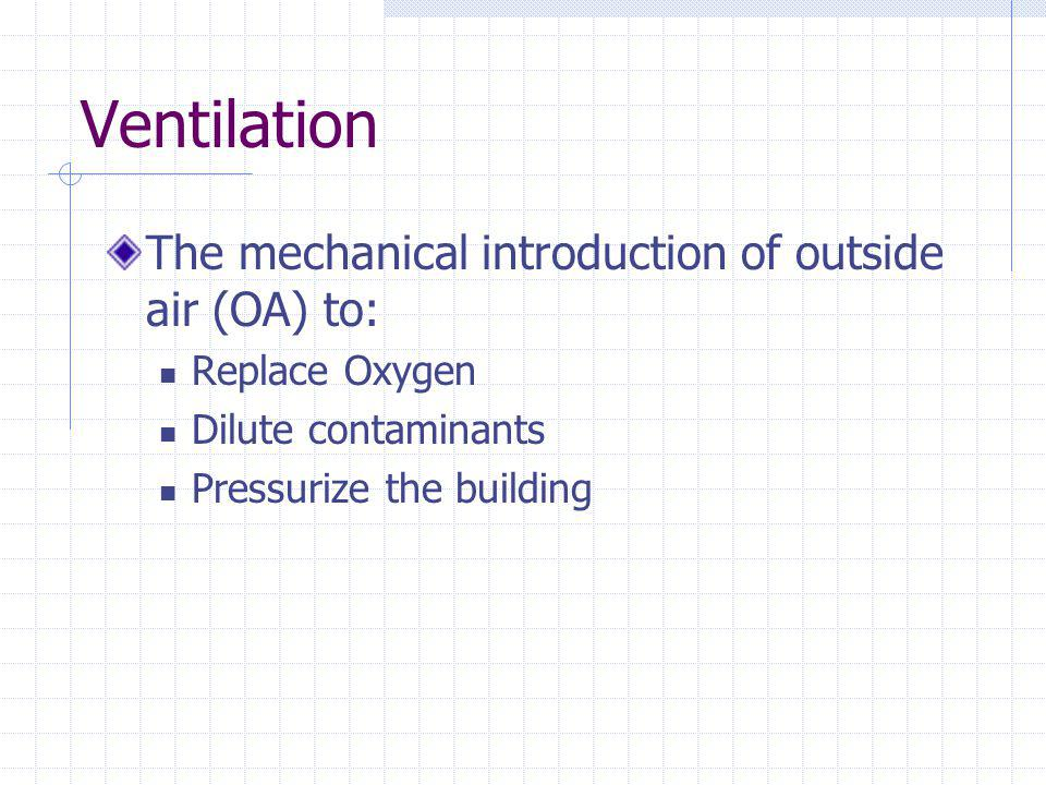 Ventilation The mechanical introduction of outside air (OA) to: