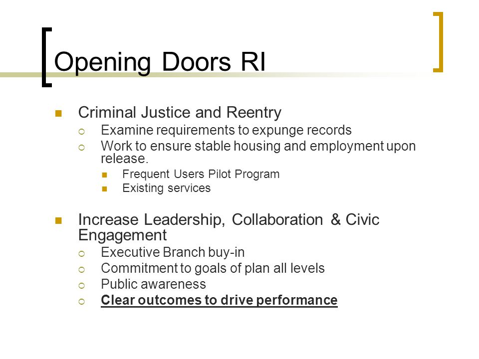 Opening Doors RI Criminal Justice and Reentry
