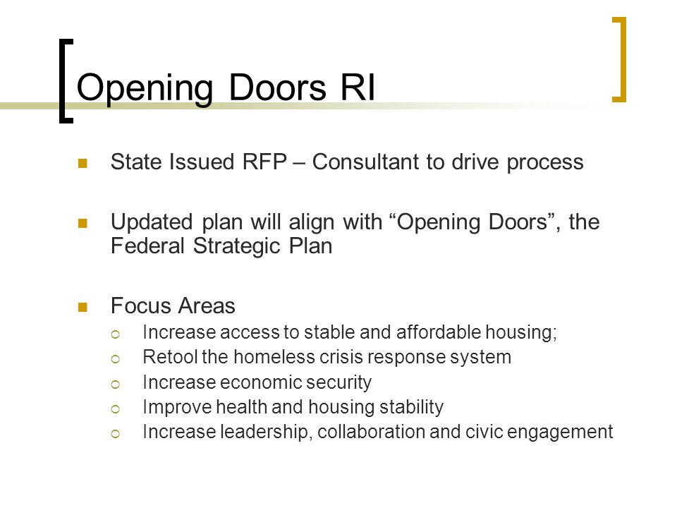 Opening Doors RI State Issued RFP – Consultant to drive process