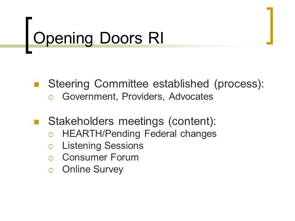 Opening Doors RI Steering Committee established (process):
