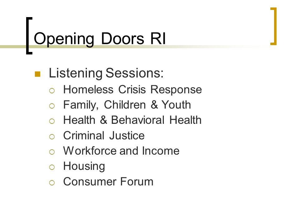 Opening Doors RI Listening Sessions: Homeless Crisis Response