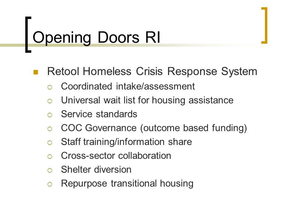 Opening Doors RI Retool Homeless Crisis Response System