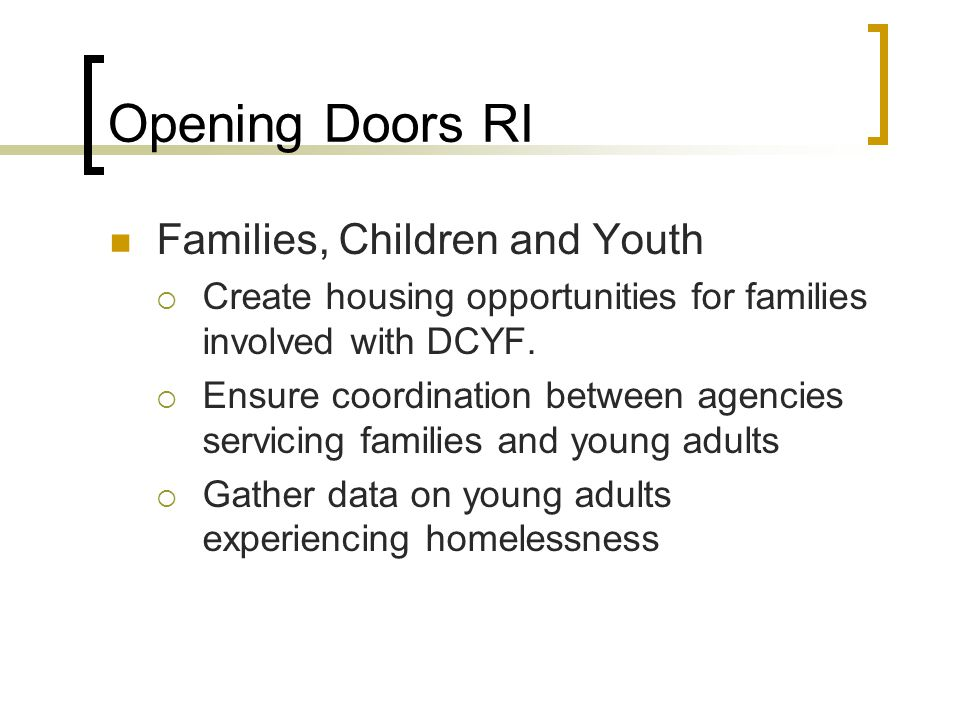 Opening Doors RI Families, Children and Youth
