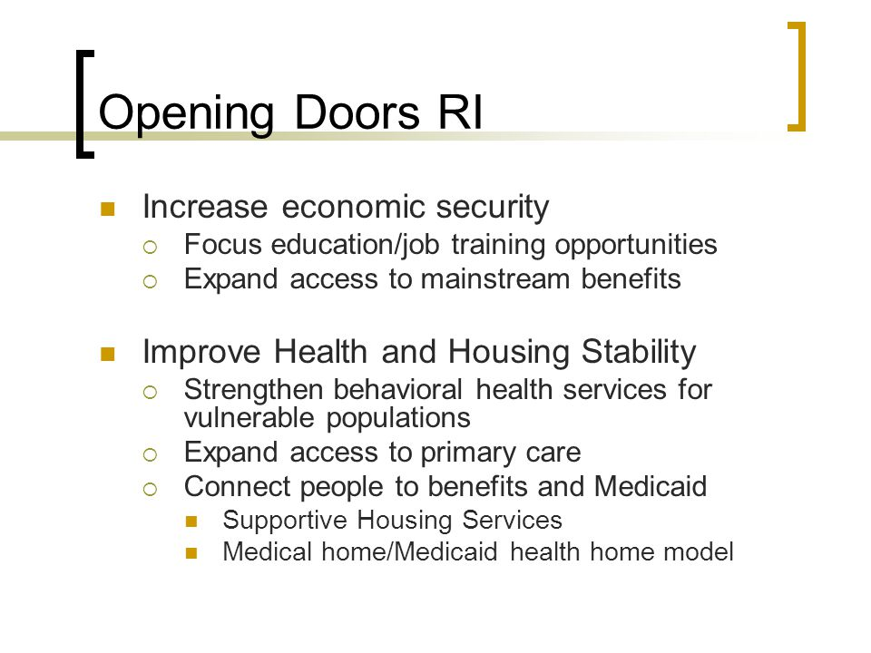 Opening Doors RI Increase economic security