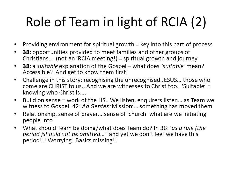 Role of Team in light of RCIA (2)
