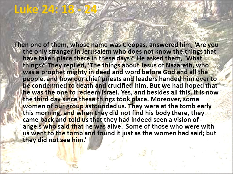 Luke 24: 18 - 24