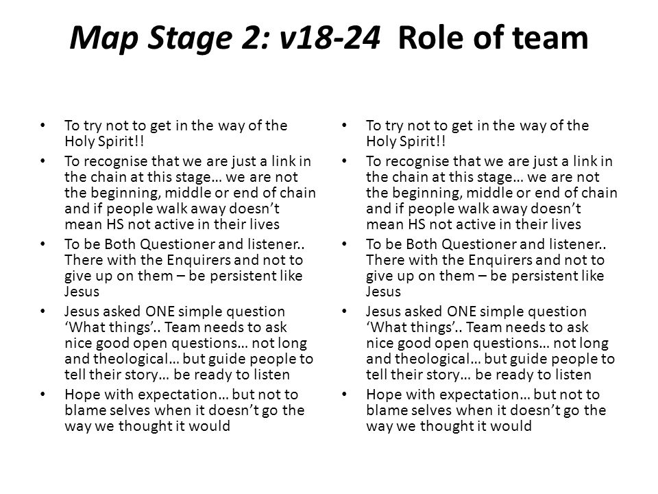 Map Stage 2: v18-24 Role of team