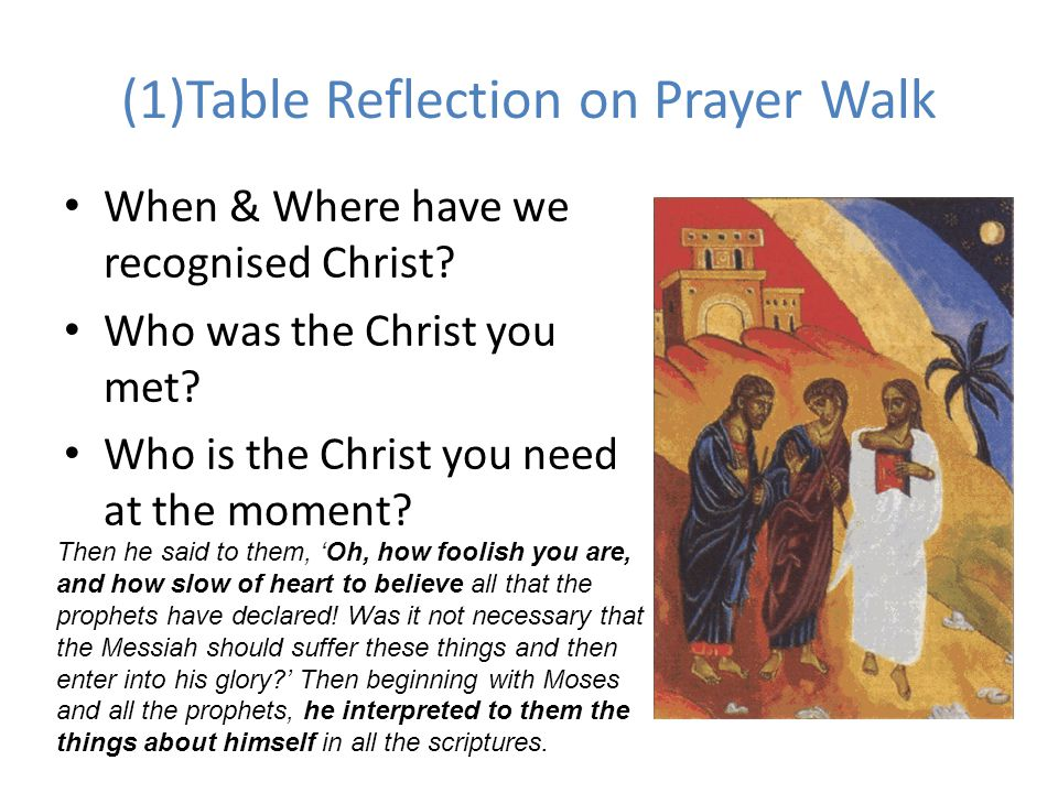 (1)Table Reflection on Prayer Walk
