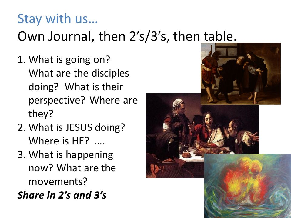 Stay with us… Own Journal, then 2's/3's, then table.