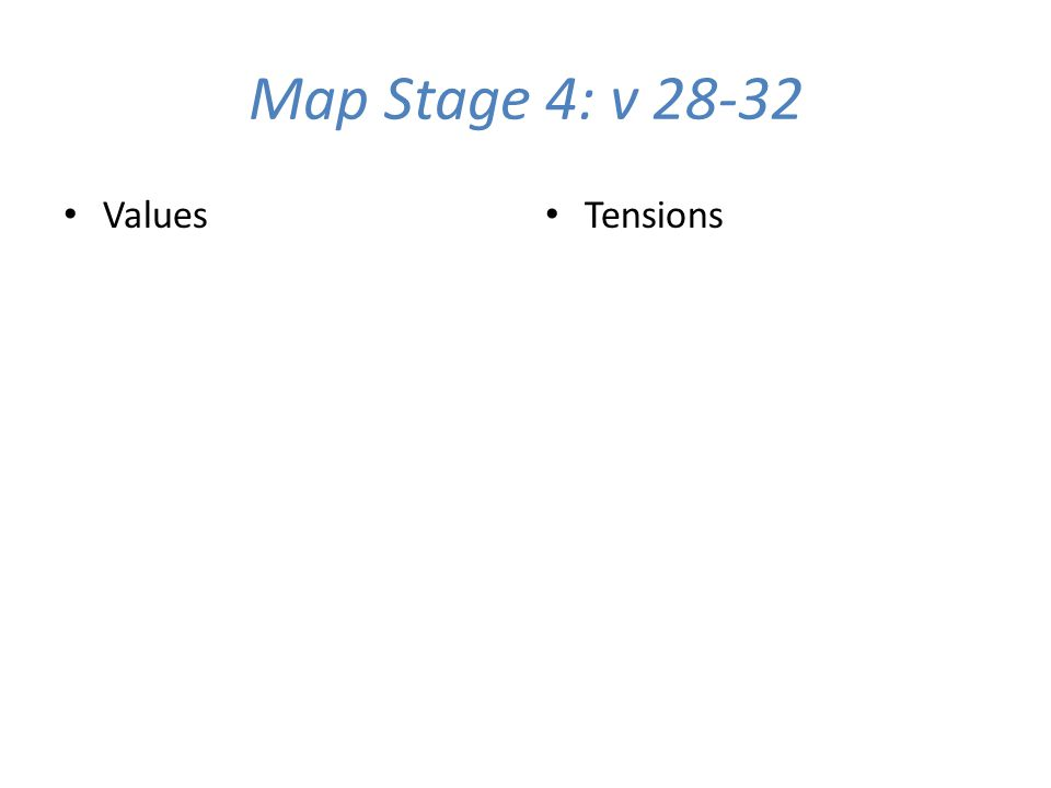 Map Stage 4: v 28-32 Values Tensions