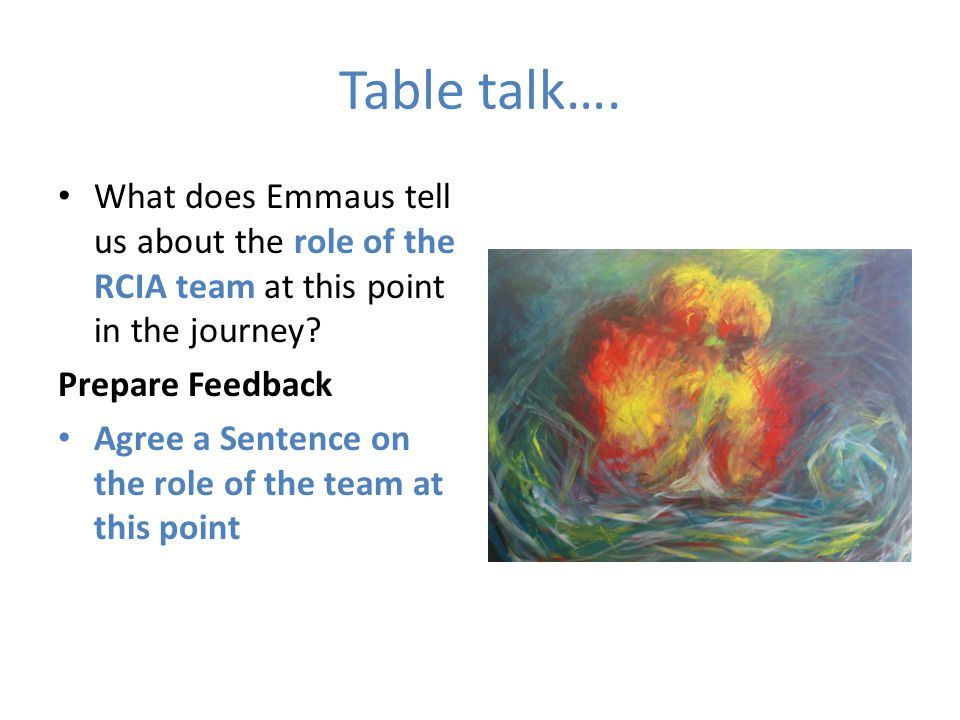 Table talk…. What does Emmaus tell us about the role of the RCIA team at this point in the journey