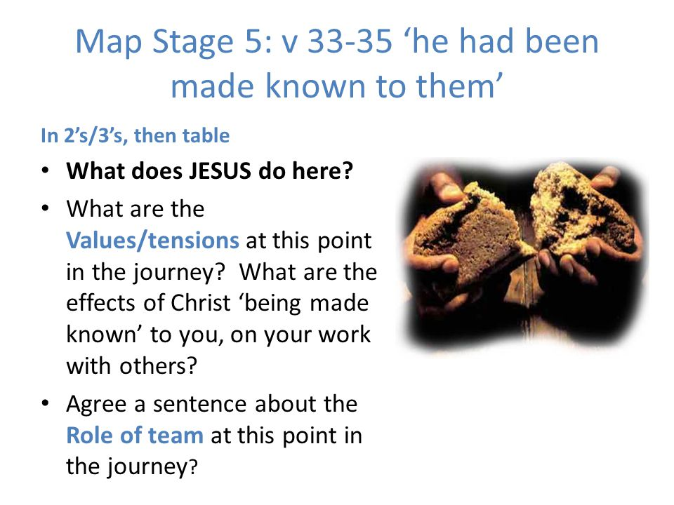 Map Stage 5: v 33-35 'he had been made known to them'