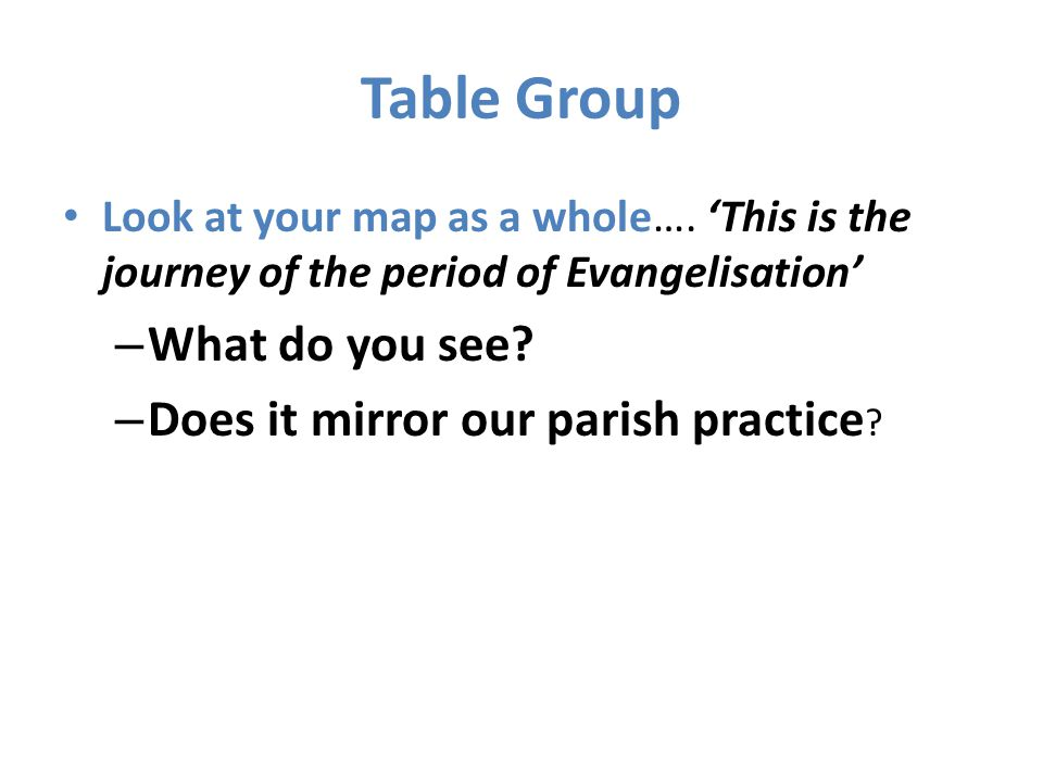 Table Group What do you see Does it mirror our parish practice