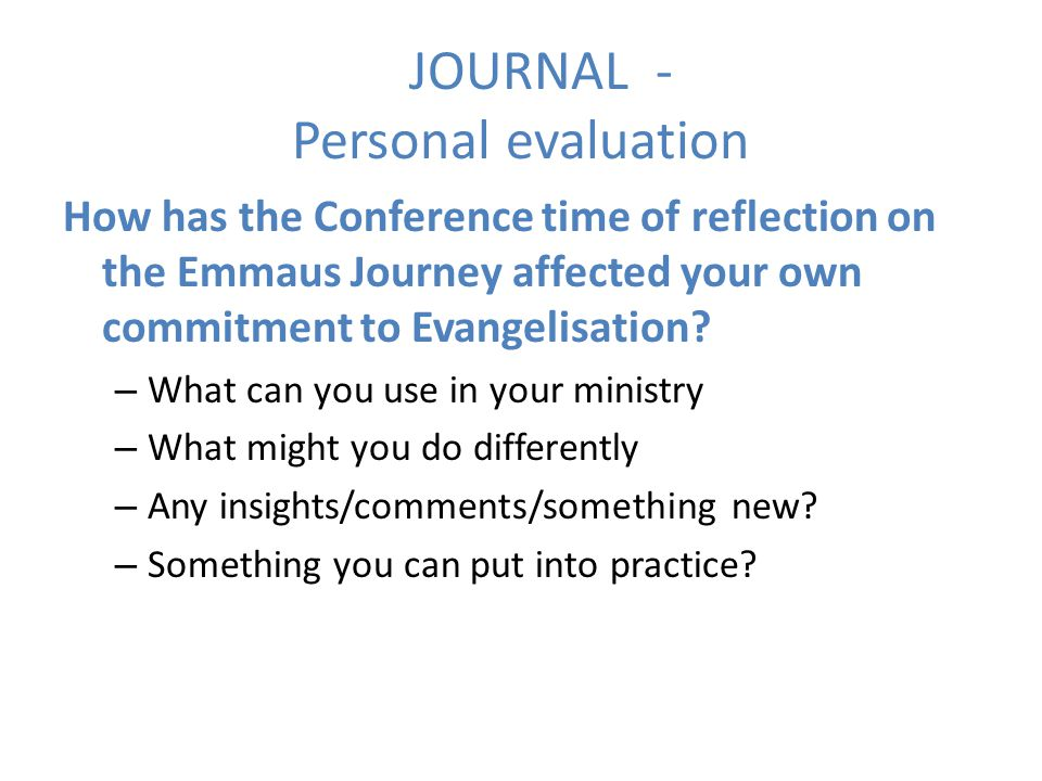 JOURNAL - Personal evaluation