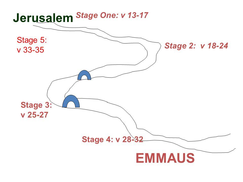 EMMAUS Jerusalem Stage 5: v 33-35 Stage 2: v 18-24 Stage 3: v 25-27