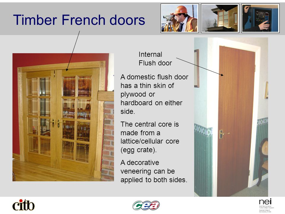 Timber French doors Internal Flush door