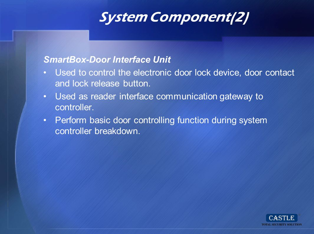 System Component(2) SmartBox-Door Interface Unit