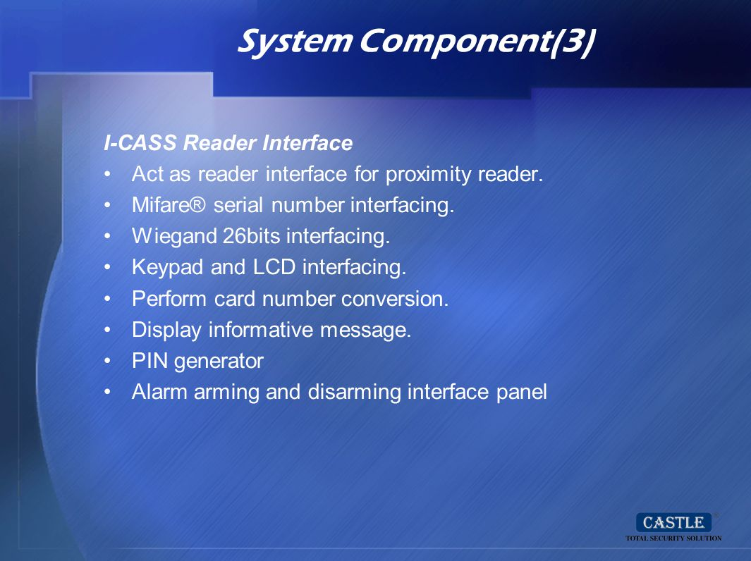 System Component(3) I-CASS Reader Interface