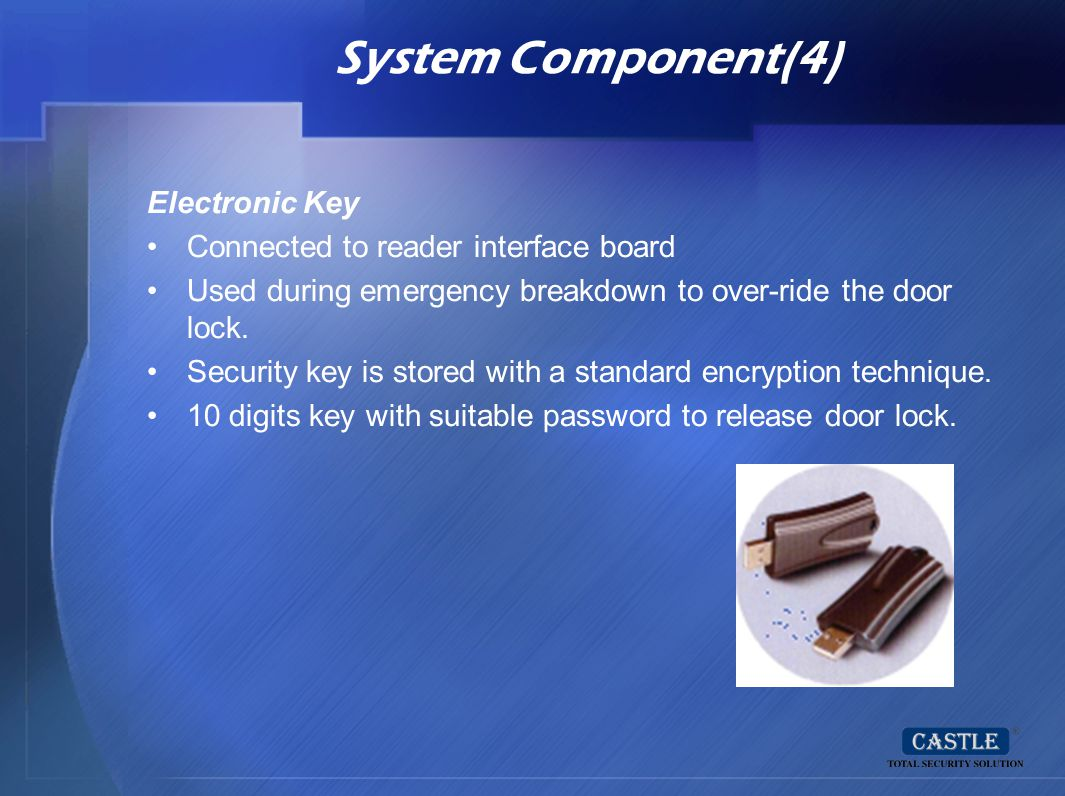 System Component(4) Electronic Key Connected to reader interface board