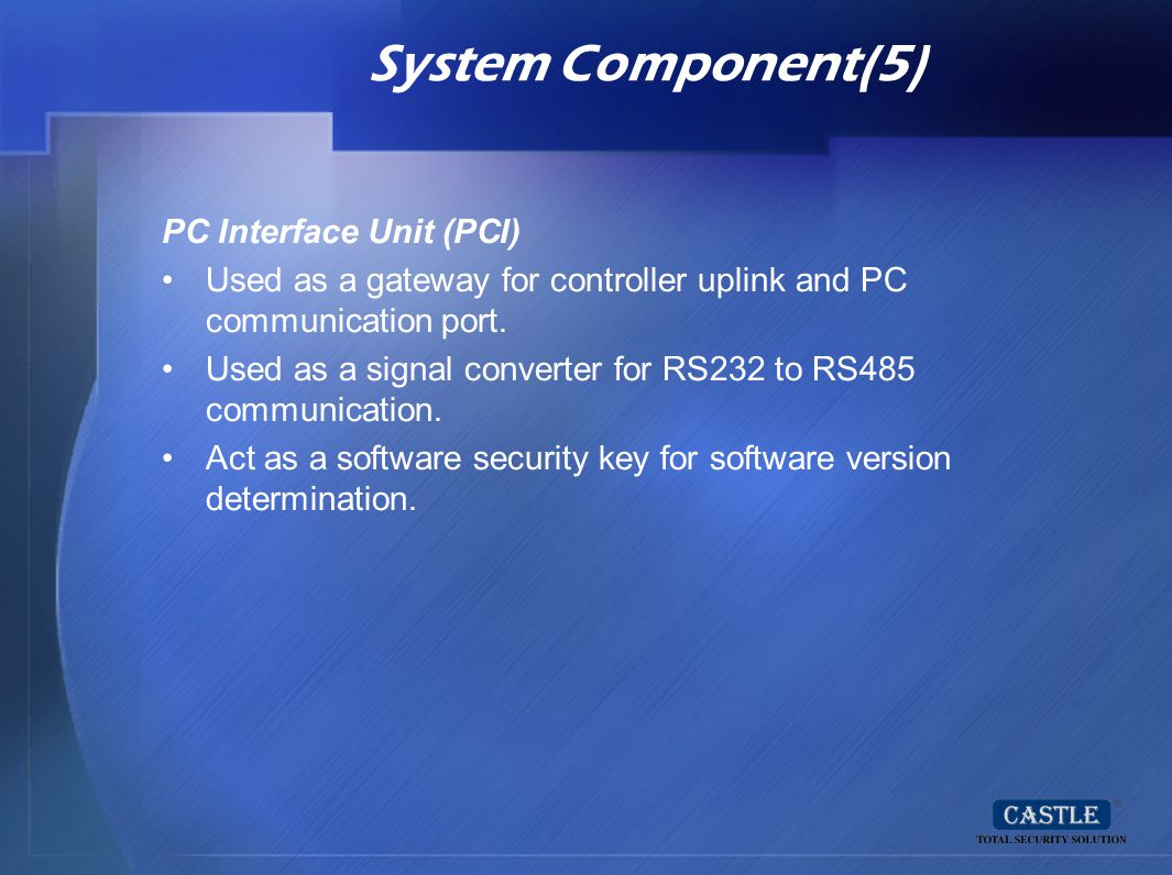 System Component(5) PC Interface Unit (PCI)