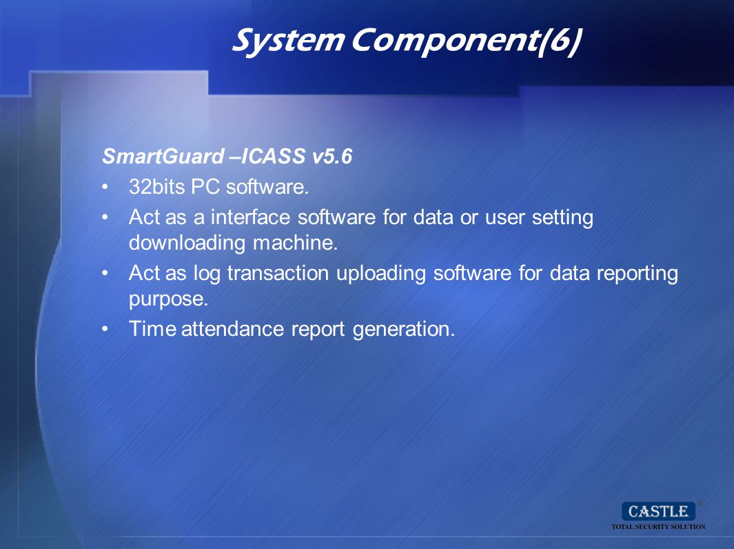 System Component(6) SmartGuard –ICASS v5.6 32bits PC software.