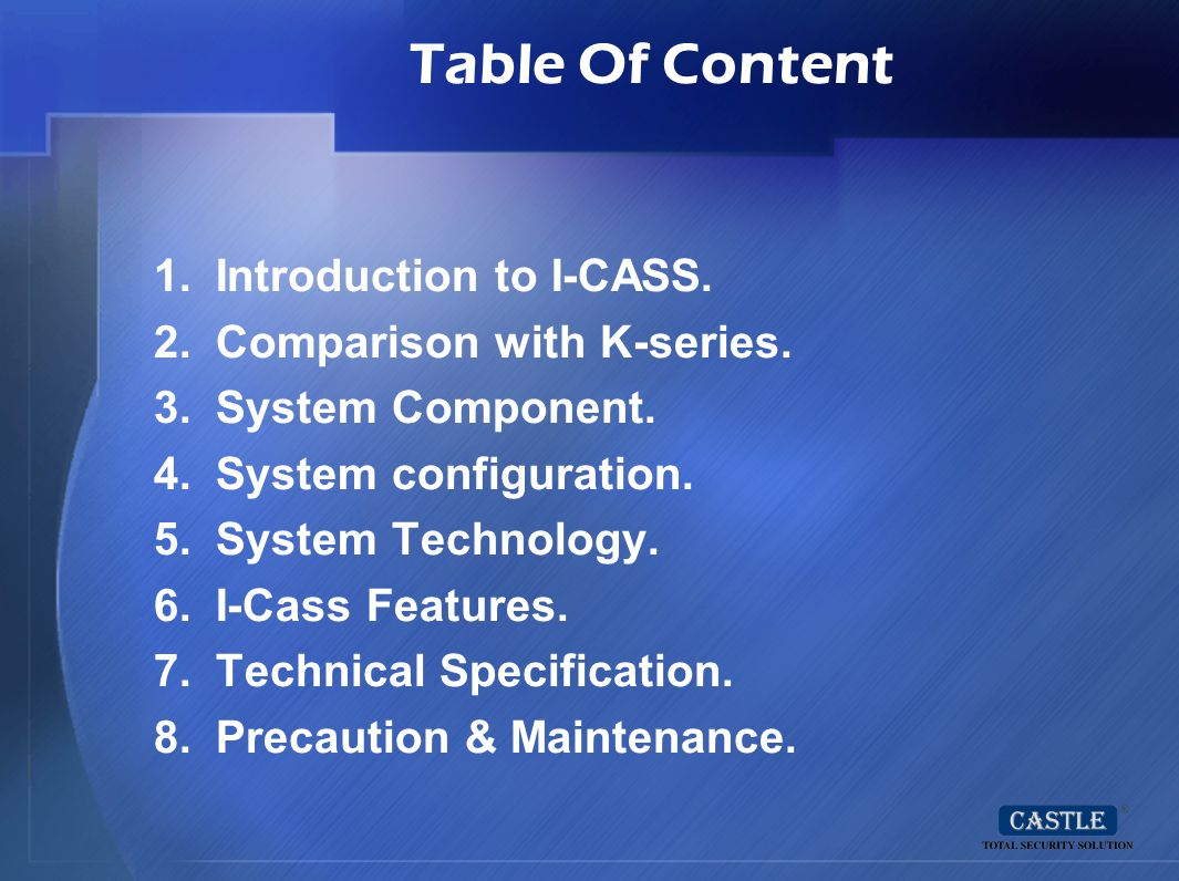 Table Of Content Introduction to I-CASS. Comparison with K-series.