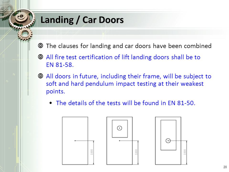 Landing / Car Doors The clauses for landing and car doors have been combined.