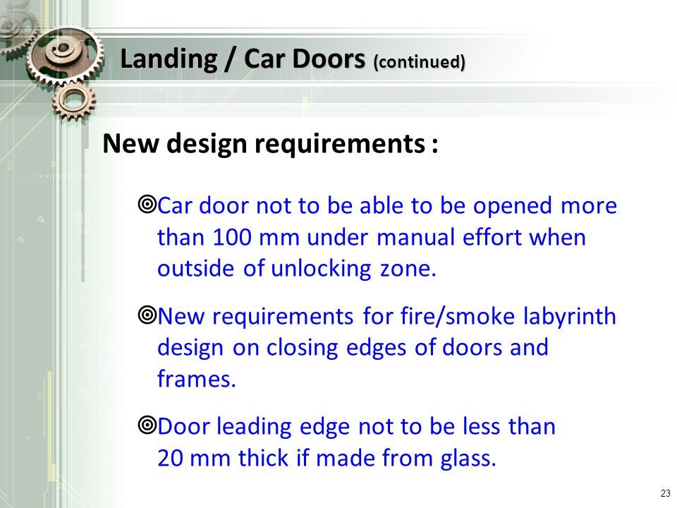 Landing / Car Doors (continued)
