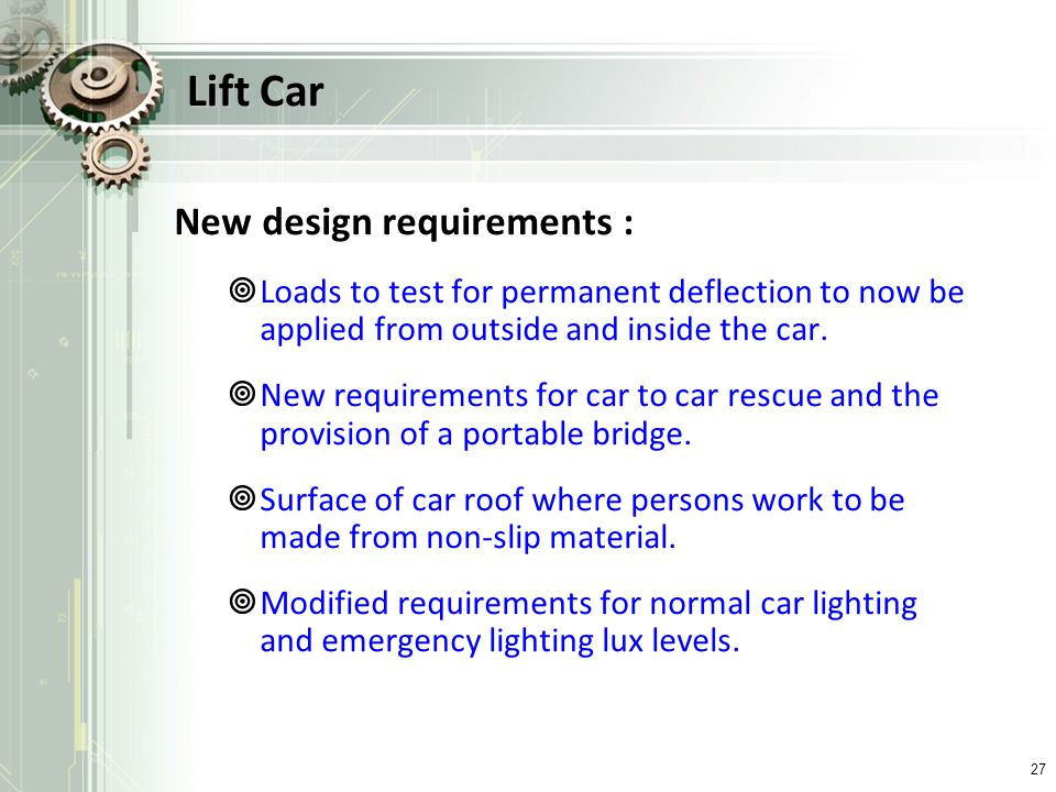 Lift Car New design requirements :