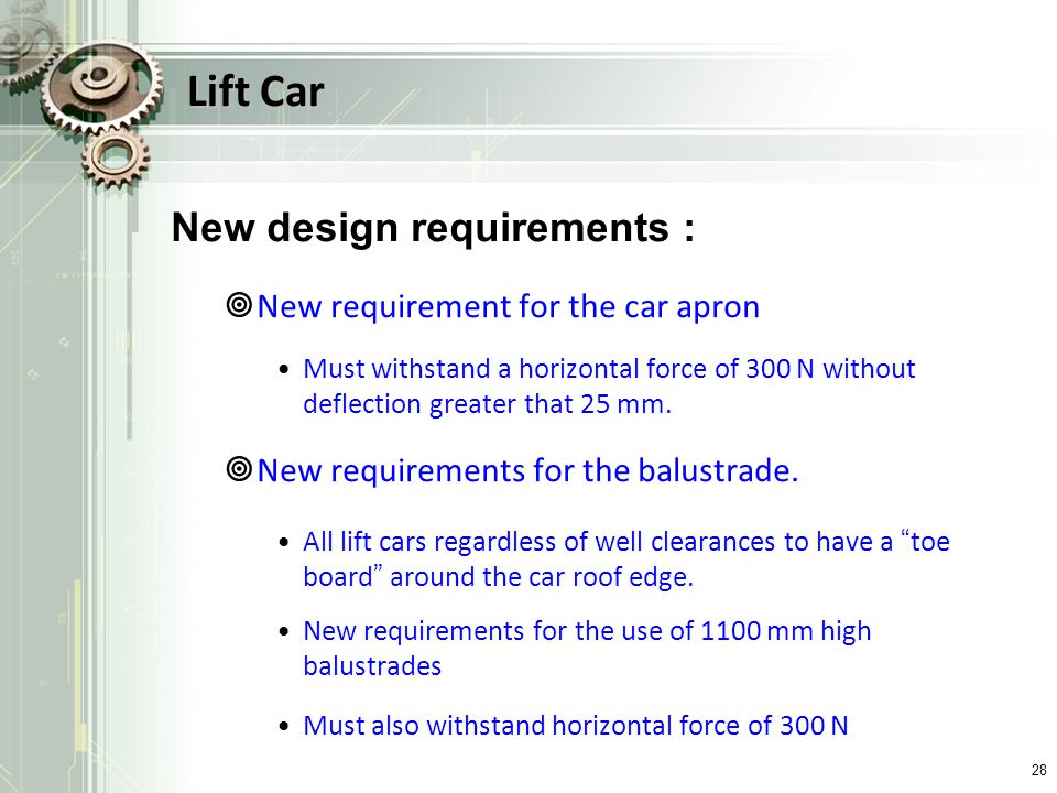 Lift Car New design requirements : New requirement for the car apron