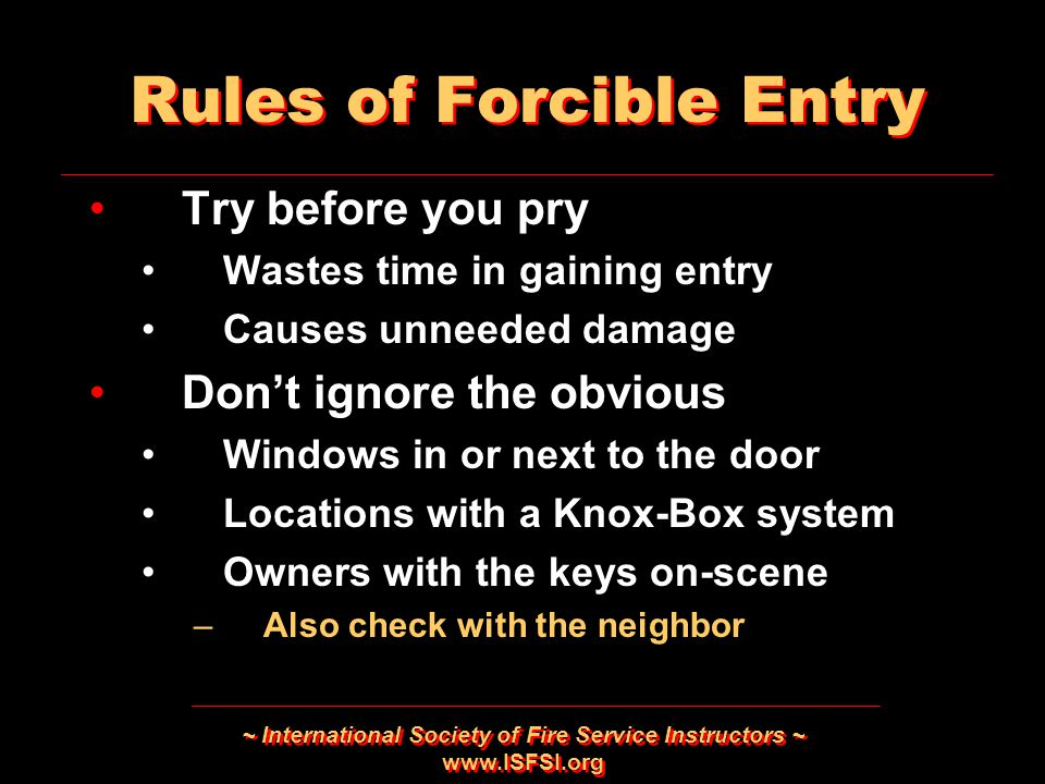 Rules of Forcible Entry