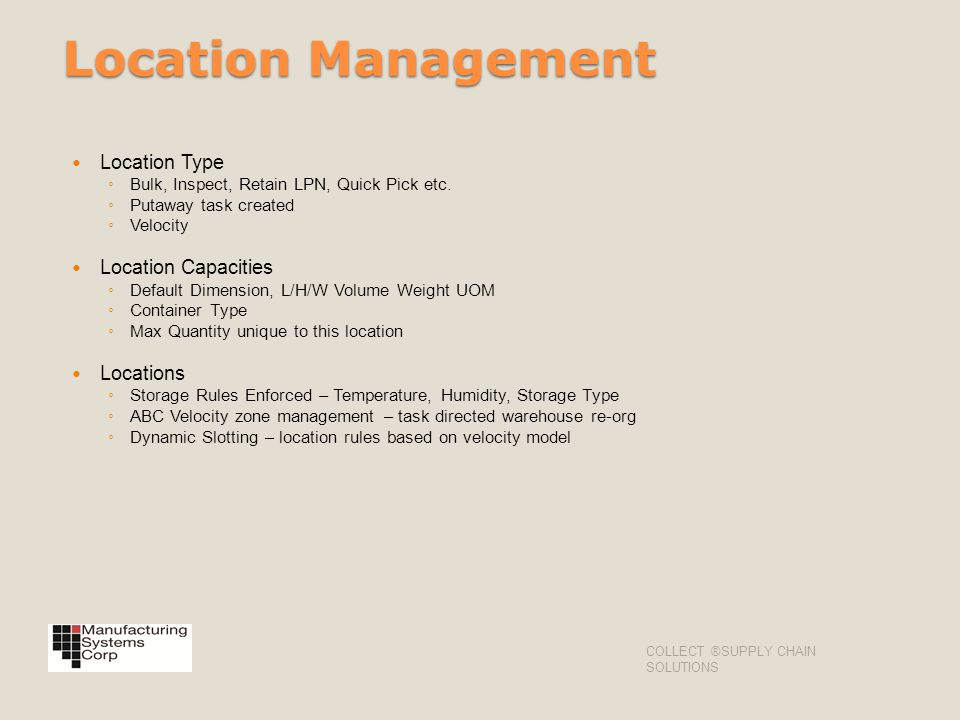 Location Management Location Type Location Capacities Locations