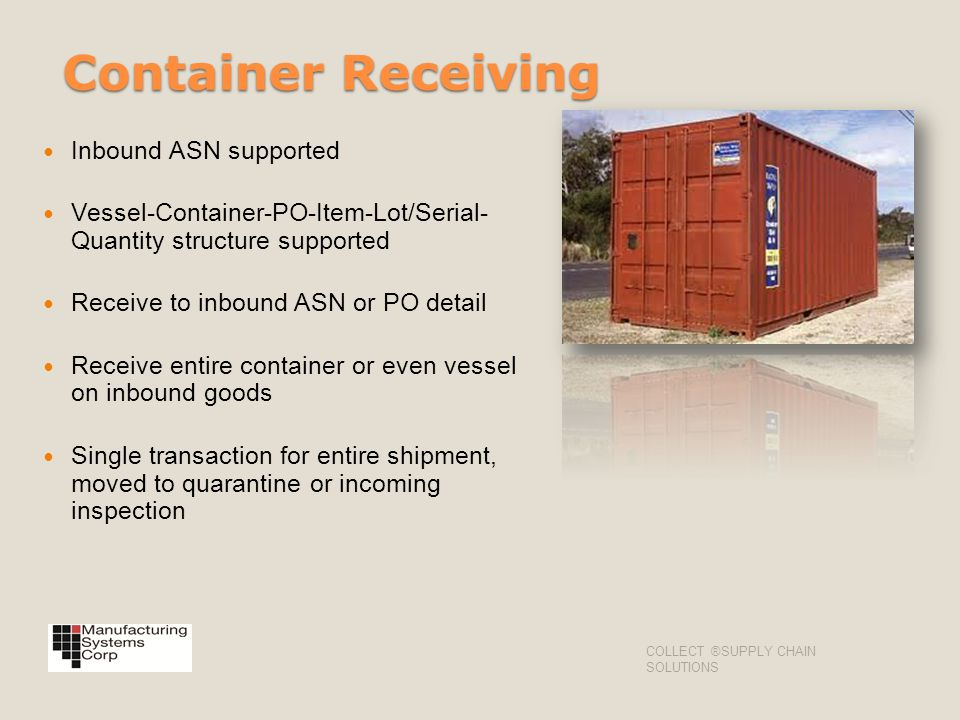 Container Receiving Inbound ASN supported