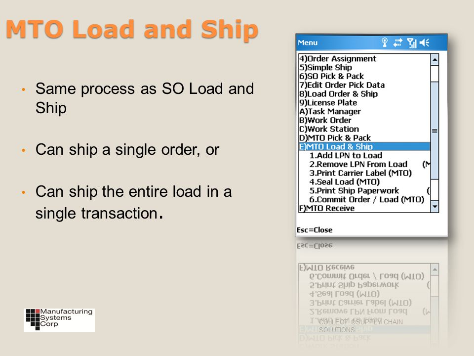 MTO Load and Ship Same process as SO Load and Ship