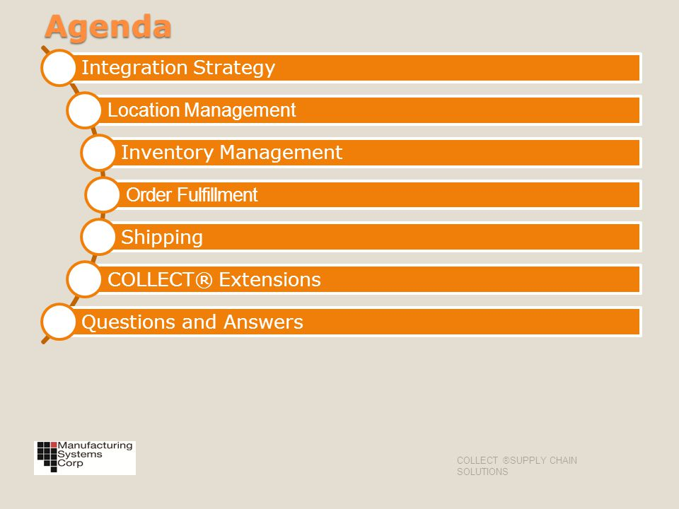 Agenda Integration Strategy Location Management Inventory Management