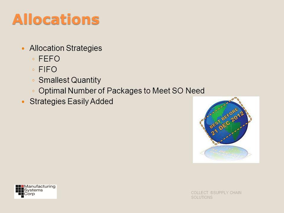 Allocations Allocation Strategies FEFO FIFO Smallest Quantity