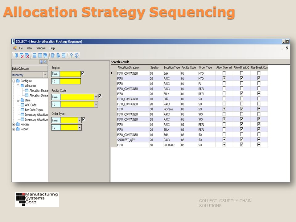Allocation Strategy Sequencing