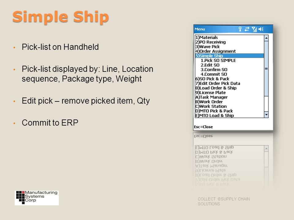 Simple Ship Pick-list on Handheld