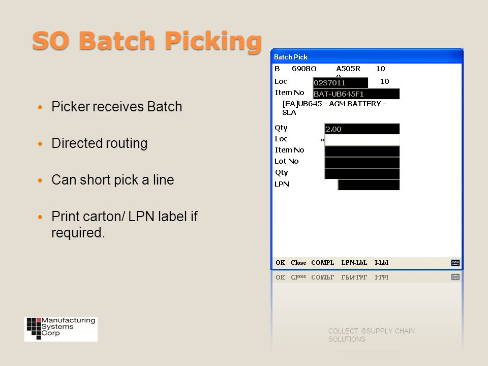 SO Batch Picking Picker receives Batch Directed routing