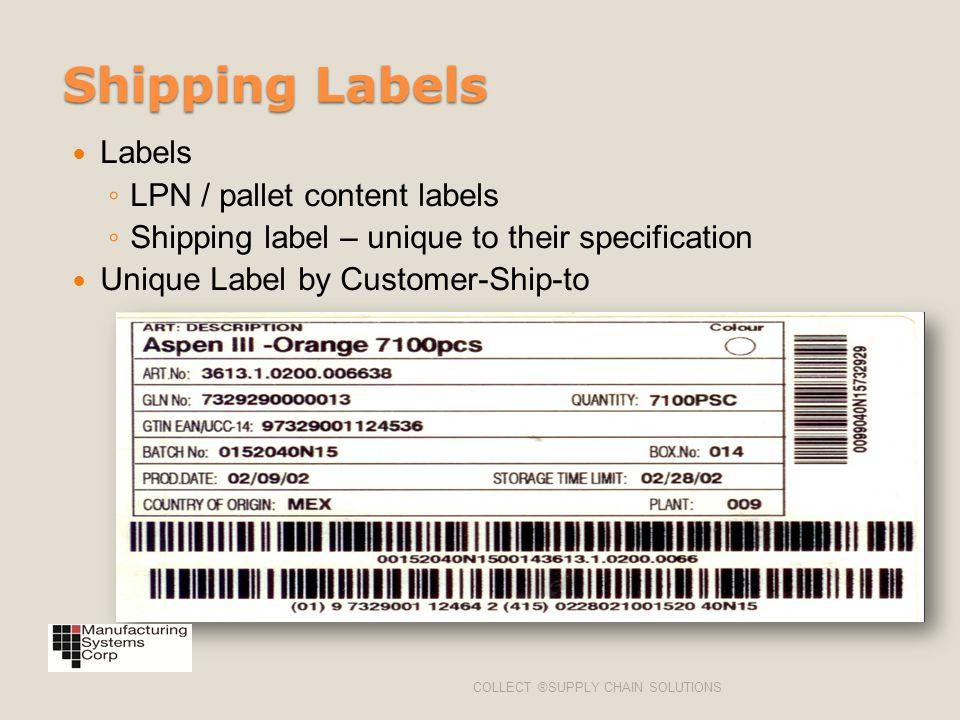 Shipping Labels Labels LPN / pallet content labels