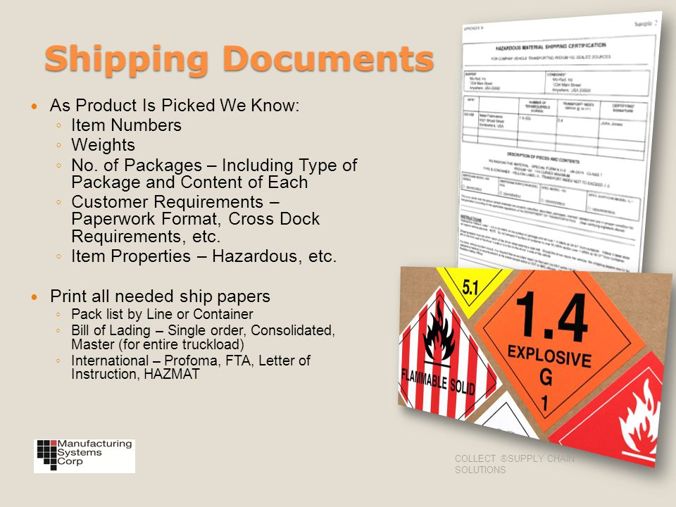 Shipping Documents As Product Is Picked We Know: Item Numbers Weights