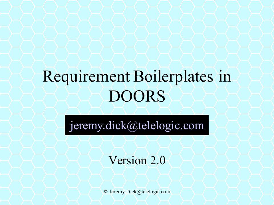 Requirement Boilerplates in DOORS