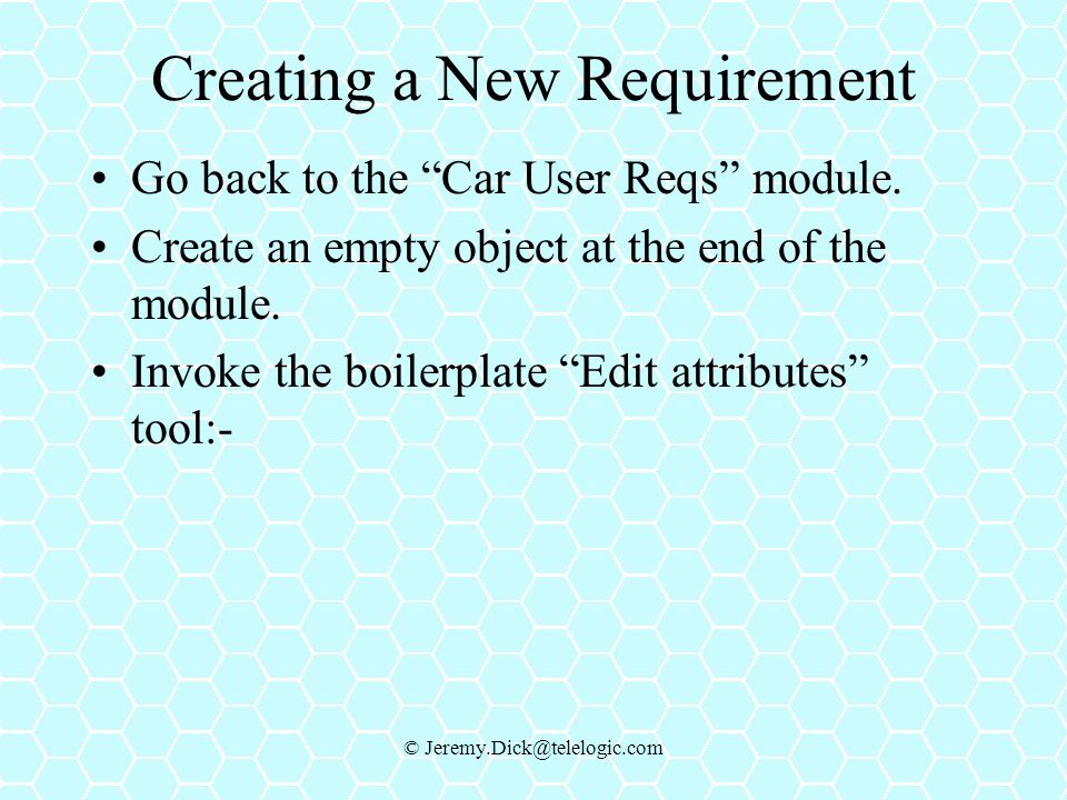 Creating a New Requirement