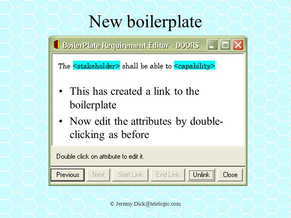 Dick@telelogic.com  sc 1 st  SlidePlayer & Requirement Boilerplates in DOORS - ppt video online download pezcame.com