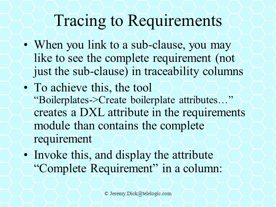 Tracing to Requirements