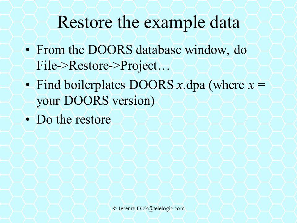 Restore the example data