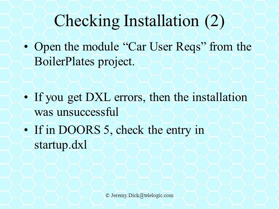 Checking Installation (2)